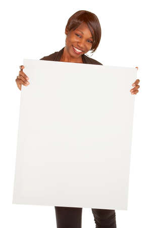 holding blank sign: African American Woman Holding a Blank White Sign Stock Photo