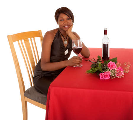 Woman Being Courted by Someone with Flowers an Wine photo