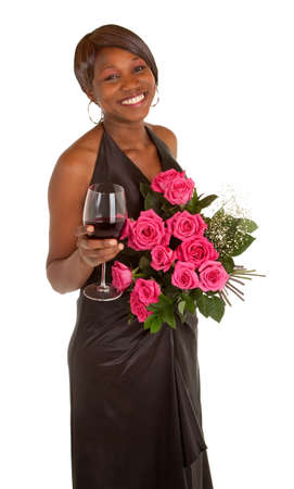 Happy Woman Posing with Roses and a Glass of Wine photo