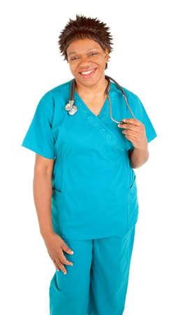 practical: Smiling African American Nurse Posing Stock Photo