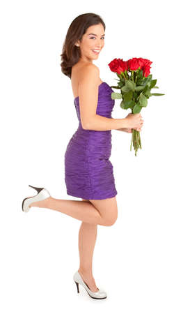 Happy Woman Holding Roses photo