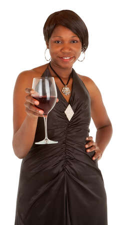 Woman Serving a Glass of Red Wine photo