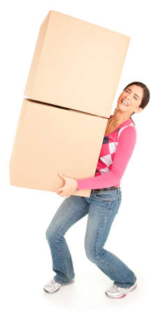 무거운: 상자를 들고 여자 고통 스러웠