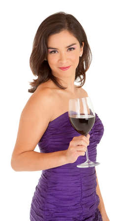 Standing Woman in an Evening Dress Holding a Glass of Wine photo