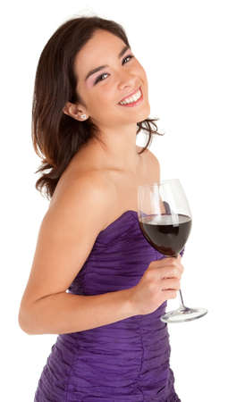 white wine: Beautiful Smiling Woman Holding a Glass of Wine Stock Photo