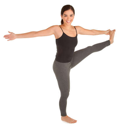 arm extended: Young Woman Exercising