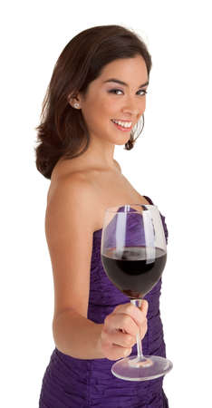 Woman Serving a Glass of Wine Stock Photo