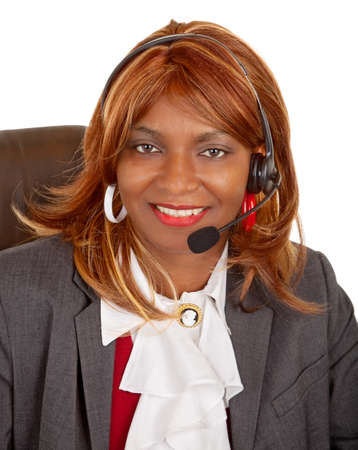 African American Woman Wearing Headset photo