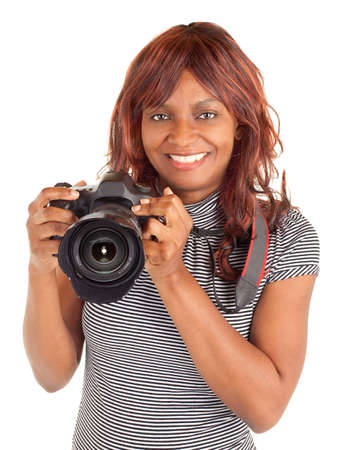 African American Female Photographer Shooting You photo