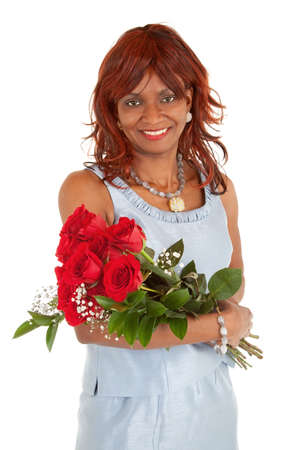 Happy African American Woman  Posing with her Roses photo