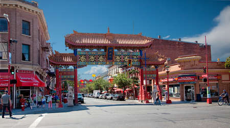 Victoria, British Columbia, Canada - July 7, 2013  Victoria Chinatown is the oldest in Canada and second oldest in North America  Its gate is known as The Gates of Harmonious Interest