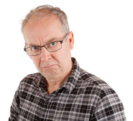 Man is dissatisfied about something. Stockfoto