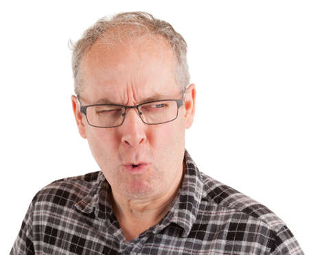 Man has an unconvinced and skeptical attitude. Standard-Bild