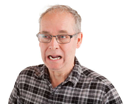 A middle-aged man is outraged about something