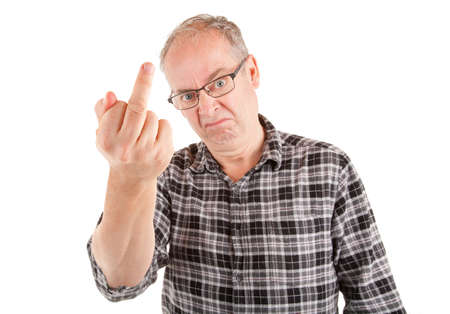 Man displeased about something is showing the middle finger. Standard-Bild