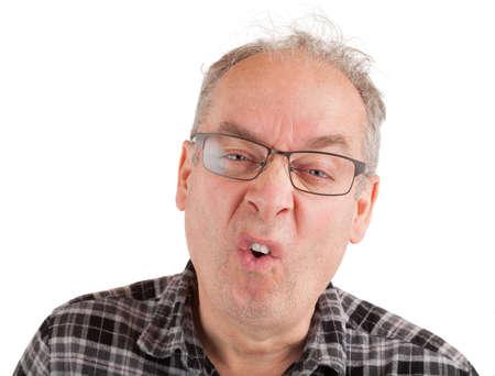 Man is hypercritical emotions Standard-Bild
