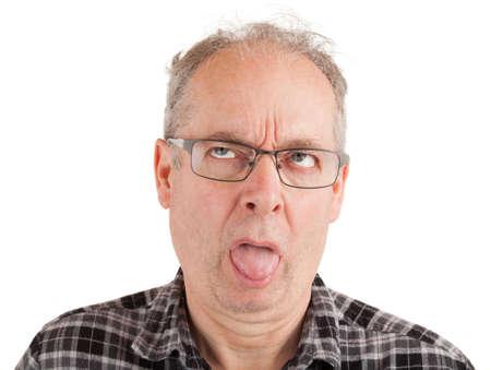 De man at wat aanstootgevend Stockfoto