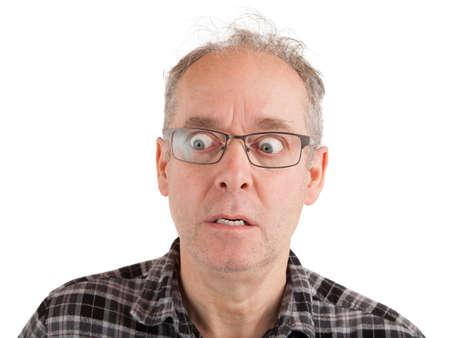 Man is petrified about something Standard-Bild