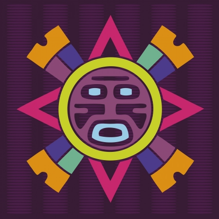 judgement day: ornamental indian poster with sun face