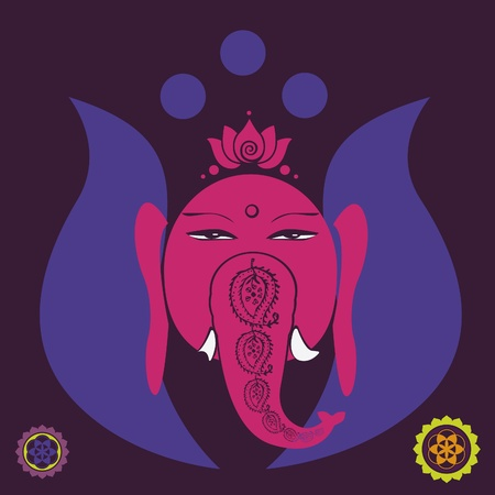 Lotus Ganesh poster with floral mandalas Vector