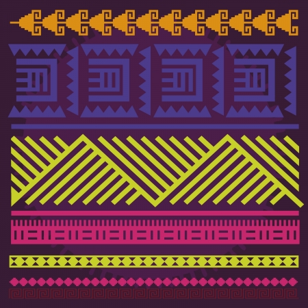 multi ethnic: Ornamental spring color line illustration print