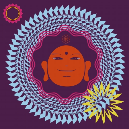 aciculum: Floral spring color floral mandala with Buddah