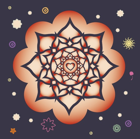 flower elements and mandalas with esoteric sense for yoga practice and design for health and wellbeing Stock Vector - 18437837