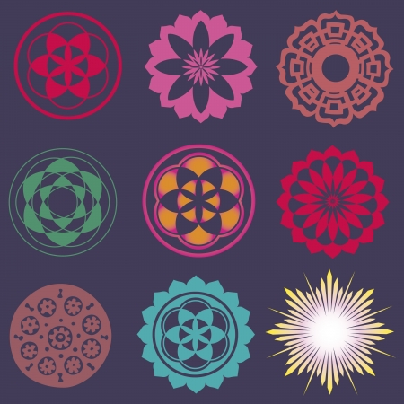spiritual growth: flower elements and mandalas with esoteric sense for yoga practice and design for health and wellbeing Illustration