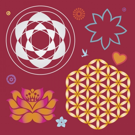 sacral: flower elements and mandalas with esoteric sense for yoga practice and design for health and wellbeing Illustration