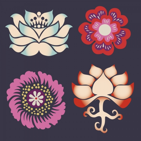flower elements and mandalas with esoteric sense for yoga practice and design for health and wellbeing Stock Vector - 18437816