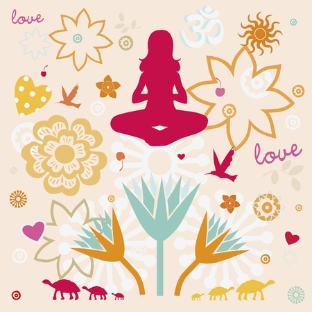 flower elements and mandalas with esoteric sense for yoga practice and design for health and wellbeing