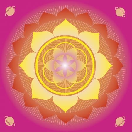bloem elementen en mandala's met esoterische betekenis voor yoga praktijk en ontwerp voor gezondheid en welzijn Vector Illustratie