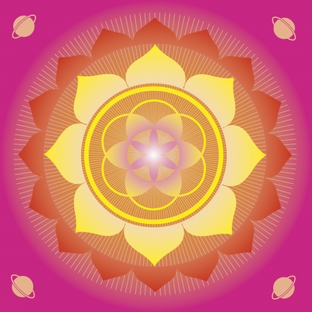 mantra: flower elements and mandalas with esoteric sense for yoga practice and design for health and wellbeing Illustration