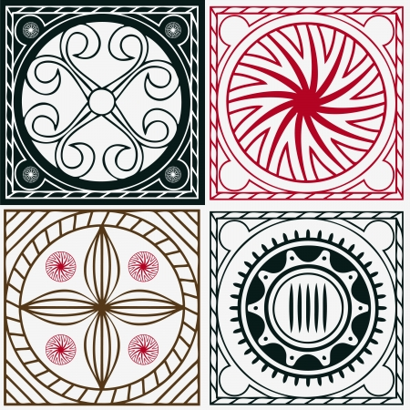 squares with national Indian ornaments Illustration