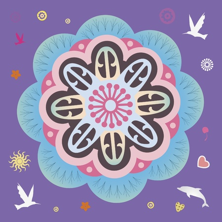 flower elements and mandalas with esoteric sense for yoga practice and design for health and wellbeing Stock Vector - 18437852