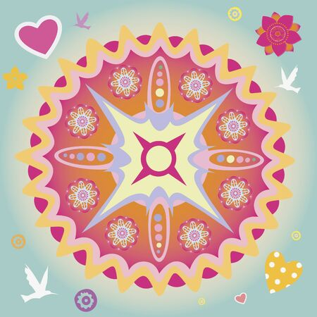 flower elements and mandalas with esoteric sense for yoga practice and design for health and wellbeing Stock Vector - 18437875