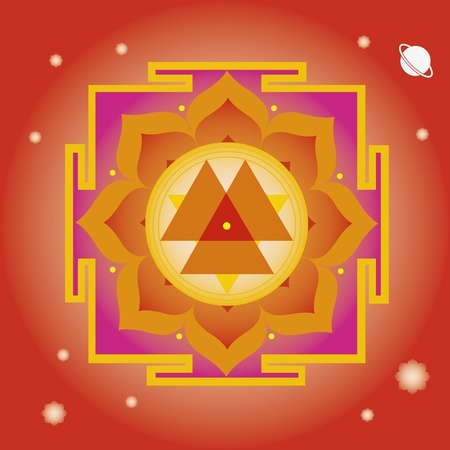 sanskrit: flower elements and mandalas with esoteric sense for yoga practice and design for health and wellbeing Illustration
