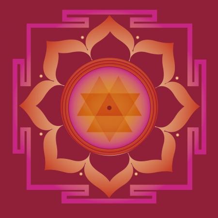 曼陀羅: 花の要素と健康と幸福のためのヨガの練習のための難解な意味とマンダラ