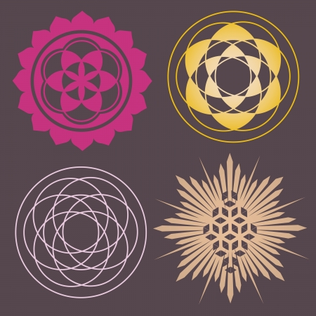 esoteric: flower elements and mandalas with esoteric sense for yoga practice and design for health and wellbeing Illustration