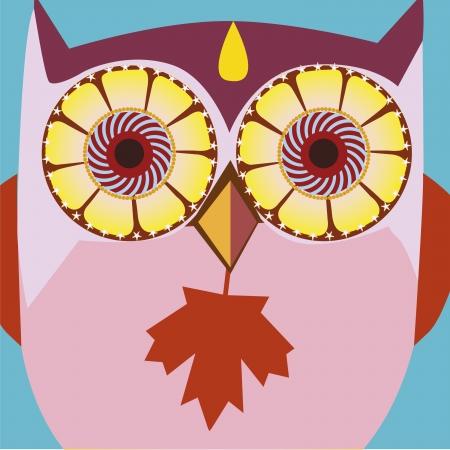 psychodelic art portrait of a ñomic owl Stock Vector - 18438937
