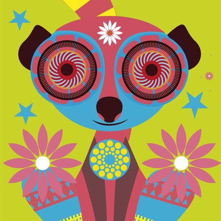 psychodelic art portrait of a �omic  lemur