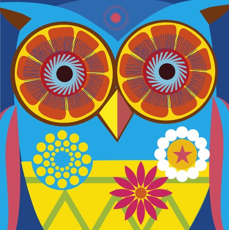psychodelic art portrait of a ñomic owl  Illustration