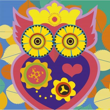 psychodelic art portrait of a �omic owl Stock Vector - 18438949