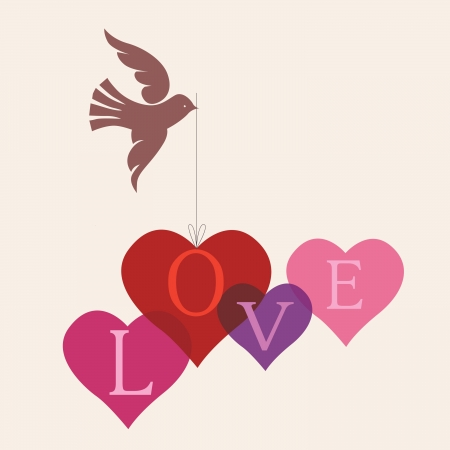 Beautiful romantic card with love message Vector