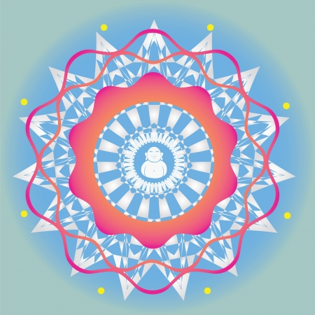 Color ornamental vector print  use for design and decoration and meditation-spring edition mandala Vector