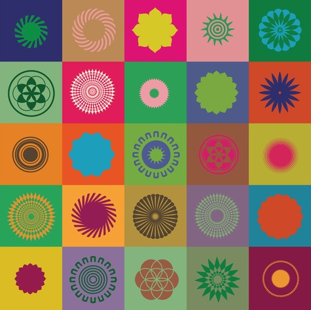 Great collection of round elements and symbols  Great colors with special sense  vector  Vector