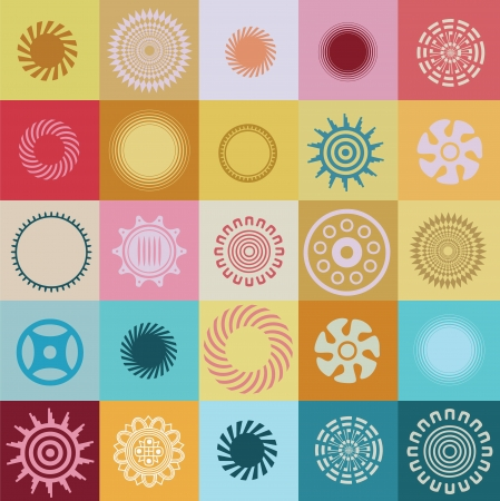 Great vector collection of round elements and symbols with special sense Illustration