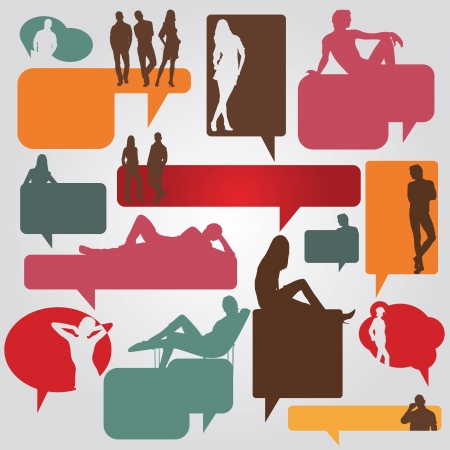 color dialog bubbles with silhouettes of people Vector