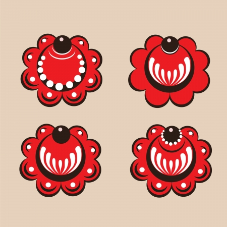 Russian style floral elements vector  Vector