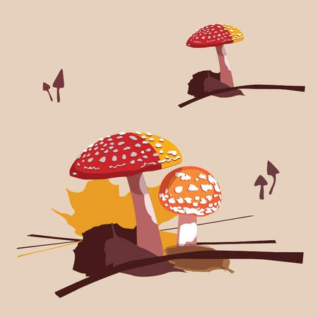 vector collection of fly agarics not edible fungi Stock Vector - 18464790